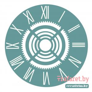 """Трафарет клеевой """"Циферблат 3"""" Creativim.by 20 см, многократного применения, мягкий"""