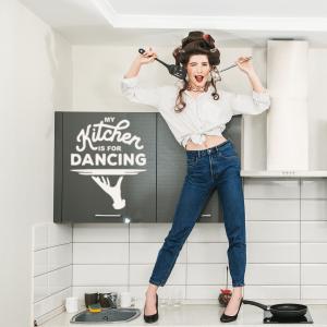 """Трафарет клеевой """"My kithcen is for dancing """", 20 х 20 см, многократного применения, мягкий"""