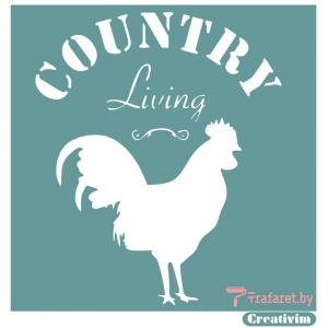 """Трафарет клеевой """"Country Living"""", 20 х 20 см, многократного применения, мягкий"""
