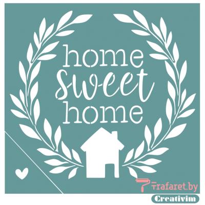 "Трафарет клеевой ""Home sweet home"" Creativim.by 20 х 20 см, многократного применения, мягкий"