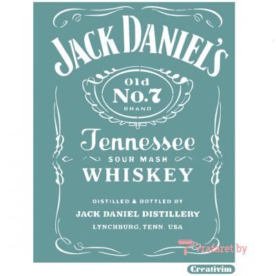 """Трафарет клеевой """"Jack Daniel's 1"""" Creativim.by 20 х 30 см, многократного применения, мягкий"""