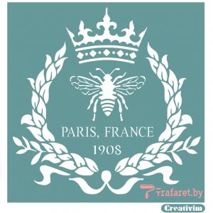 """Трафарет клеевой """"Paris France """", 20 х 20 см, многократного применения, мягкий"""