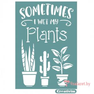 "Трафарет клеевой ""Sometimes sweet plants"" Creativim.by 15 х 20 см, многократного применения, мягкий"