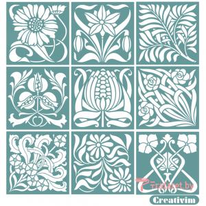 """Набор трафаретов """"Плитка цветы"""" Creativim 10 х 10 см, 9 шт, многократного применения, мягкий"""
