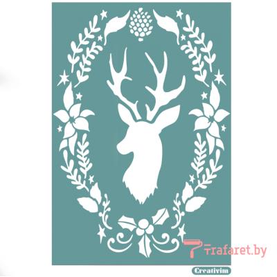 """Трафарет клеевой """"Рождественский олень"""" Creativim , 15 x 20 см, многократного применения, мягкий"""