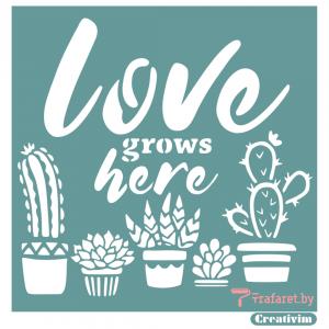 "Трафарет клеевой ""Love grows here"" Creativim.by  15 х 15 см, многократного применения, мягкий"