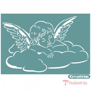 """Трафарет клеевой """"Ангел 2"""" Creativim.by  10 х 15 см, многократного применения, мягкий"""