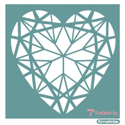 """Трафарет клеевой """"Геометрическое сердце"""" Creativim.by  15 х 15 см, многократного применения, мягкий"""