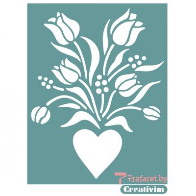 """Трафарет клеевой """"Валентинка тюльпаны"""" Creativim.by  10 х 15 см, многократного применения, мягкий"""